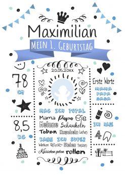 Meilensteintafel 1. Geburtstag Geschenk Personalisiert Whiteboard Geburtstagstafel Classic Blau Kreidetafel Mädchen Junge