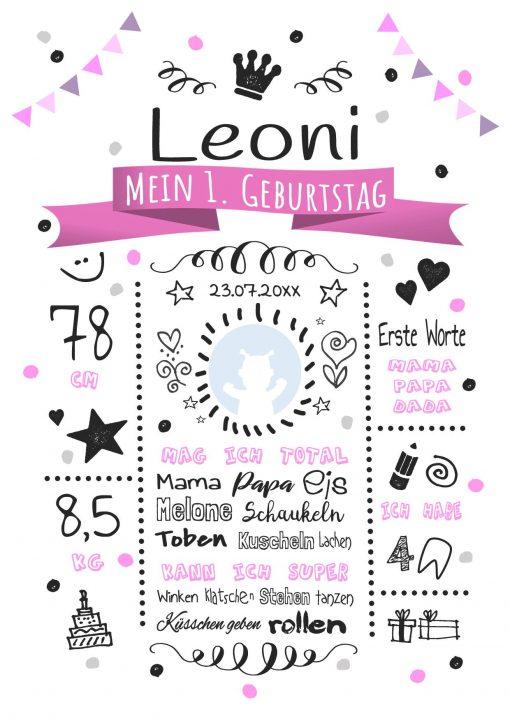 Meilensteintafel 1. Geburtstag Geschenk Personalisiert Whiteboard Geburtstagstafel Classic Pink Kreidetafel Mädchen Junge
