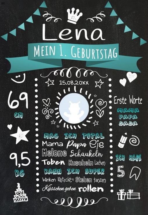 Meilensteintafel 1. Geburtstag Personalisiert Chalkboard Geburtstagstafel Classic Tuerkis Kreidetafel Maedchen Junge 566x800