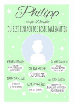 Meilensteintafel Abschiedsgeschenk Tagesmutter Erzieherin Chalkboard Personalisiert Mädchen Junge Wolke Mint