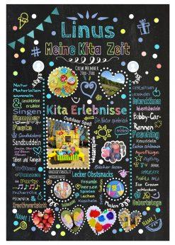 Meilensteintafel Abschiedsgeschenk Tagesmutter Tageskind Chalkboard Personalisiert Bunt Junge
