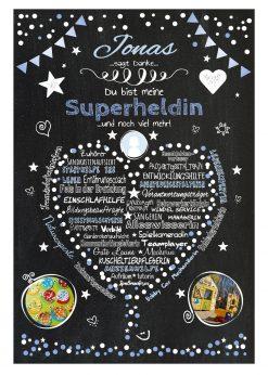 Meilensteintafel Abschiedsgeschenk Tagesmutter Tagesvater Erzieherin Personalisiert Danke Herz Geschenk Chalkboard Blau 2