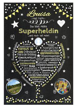 Meilensteintafel Abschiedsgeschenk Tagesmutter Tagesvater Erzieherin Personalisiert Danke Herz Geschenk Chalkboard Gelb