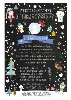 Meilensteintafel Brief Vom Weihnachtsmann Post Personalisiert Chalkboard Checkliste Schneespaß