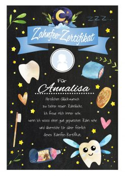 Meilensteintafel Brief Von Der Zahnfee Zertifikat Personalisiert Junge Mädchen Chalkboard Gold 2