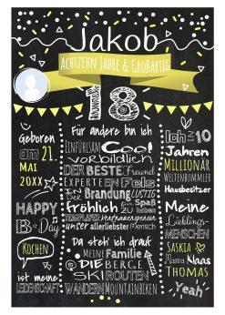 Meilensteintafel Chalkboard 18. Geburtstag Geschenk Personalisiert Geburtstagstafel Frau Mann Gelb Klassik Foto