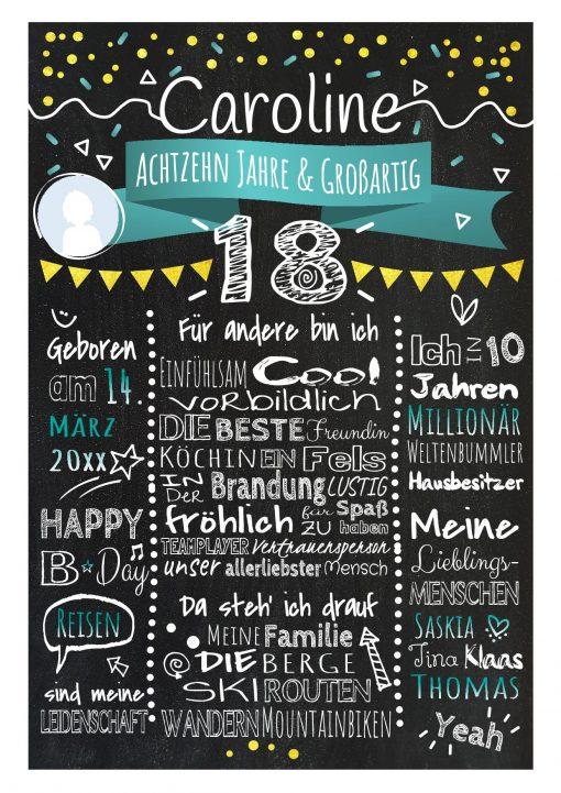 Meilensteintafel Chalkboard 18. Geburtstag Geschenk Personalisiert Geburtstagstafel Frau Mann Gold Türkis Klassik Foto