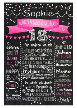 Meilensteintafel Chalkboard 18. Geburtstag Geschenk Personalisiert Geburtstagstafel Frau Mann Pink Klassik.docx