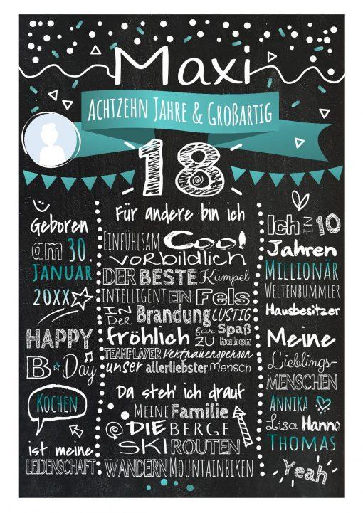 Meilensteintafel Chalkboard 18. Geburtstag Geschenk Personalisiert Geburtstagstafel Frau Mann Türkis Klassik Foto.docx