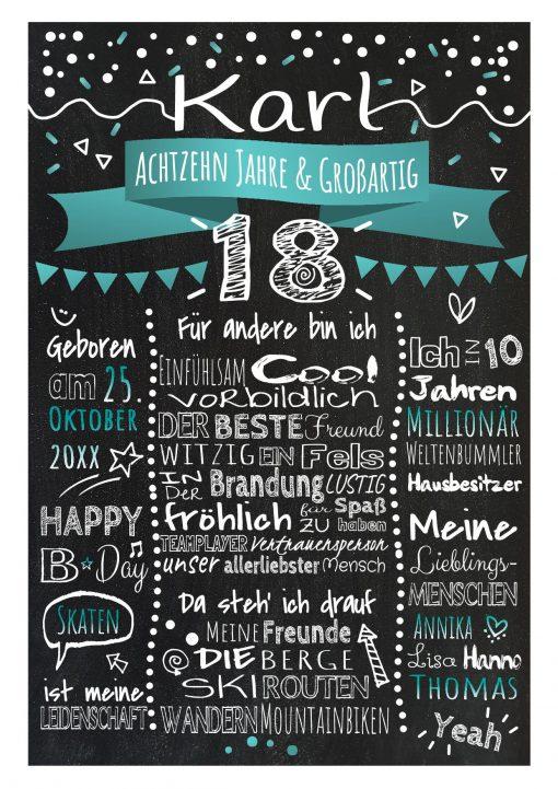 Meilensteintafel Chalkboard 18. Geburtstag Geschenk Personalisiert Geburtstagstafel Frau Mann Türkis Klassik.docx