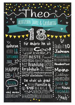 Meilensteintafel Chalkboard 18. Geburtstag Geschenk Personalisiert Geburtstagstafel Gold Türkis Mann Frau Klassik