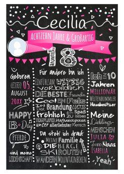 Meilensteintafel Chalkboard 18. Geburtstag Geschenk Personalisiert Geburtstagstafel Mann Frau Pink Foto Klassik