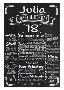Meilensteintafel Chalkboard 18. Geburtstag Geschenk Personalisiert Mann Frau Geburtstagstafel Retro Stripes