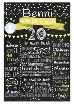 Meilensteintafel Chalkboard 20. Geburtstag Geschenk Personalisiert Geburtstagstafel Frau Mann Gelb Klassik Foto.docx