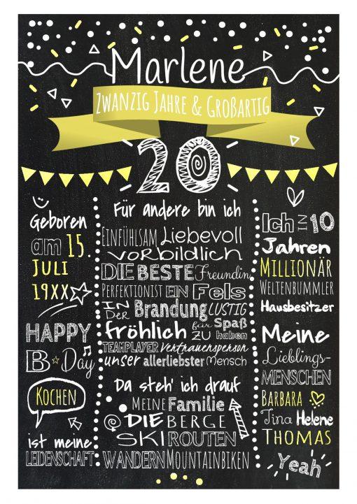 Meilensteintafel Chalkboard 20. Geburtstag Geschenk Personalisiert Geburtstagstafel Frau Mann Gelb Klassik.docx