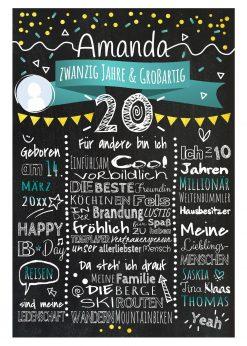 Meilensteintafel Chalkboard 20. Geburtstag Geschenk Personalisiert Geburtstagstafel Frau Mann Gold Türkis Klassik Foto.docx