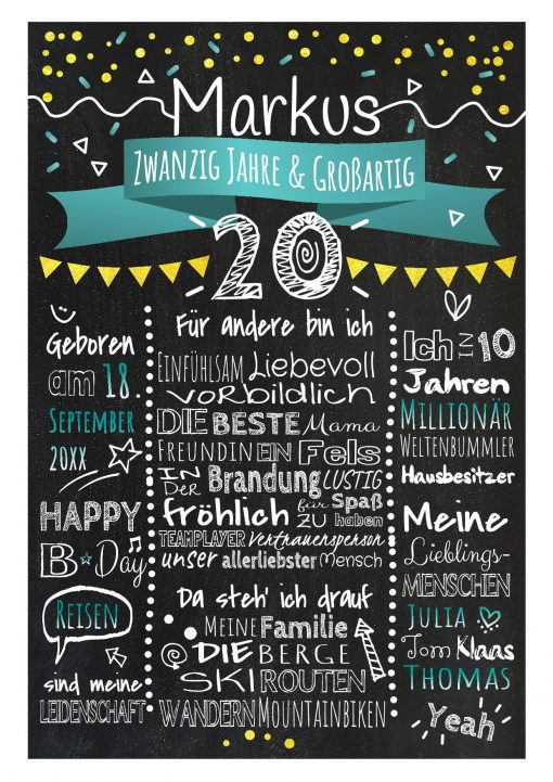 Meilensteintafel Chalkboard 20. Geburtstag Geschenk Personalisiert Geburtstagstafel Frau Mann Gold Türkis Klassik.docx