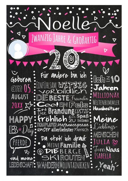 Meilensteintafel Chalkboard 20. Geburtstag Geschenk Personalisiert Geburtstagstafel Frau Mann Pink Klassik Foto.docx