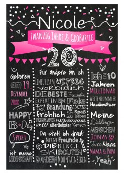 Meilensteintafel Chalkboard 20. Geburtstag Geschenk Personalisiert Geburtstagstafel Frau Mann Pink Klassik.docx