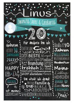 Meilensteintafel Chalkboard 20. Geburtstag Geschenk Personalisiert Geburtstagstafel Frau Mann Türkis Klassik Foto.docx