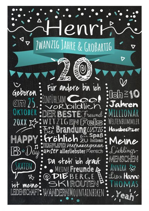 Meilensteintafel Chalkboard 20. Geburtstag Geschenk Personalisiert Geburtstagstafel Frau Mann Türkis Klassik.docx