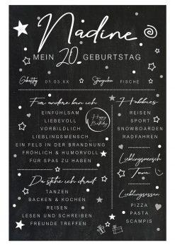 Meilensteintafel Chalkboard 20. Geburtstag Geschenk Personalisiert Mann Frau Chalk Eleganz Simpel Kopie