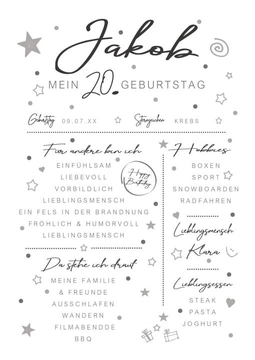 Meilensteintafel Chalkboard 20. Geburtstag Geschenk Personalisiert Mann Frau White Eleganz Simpel