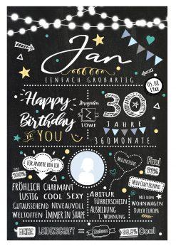 Meilensteintafel Chalkboard 30. Geburtstag Geschenk Personalisiert Chalk O Classic Geburtstagstafel Mann