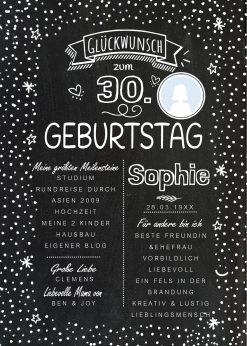 Meilensteintafel Chalkboard 30. Geburtstag Geschenk Personalisiert Geburtstagstafel Frau Mann Chalkline Foto