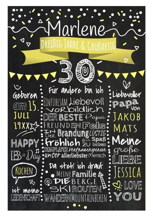Meilensteintafel Chalkboard 30. Geburtstag Geschenk Personalisiert Geburtstagstafel Frau Mann Gelb Klassik.docx