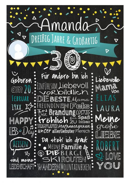 Meilensteintafel Chalkboard 30. Geburtstag Geschenk Personalisiert Geburtstagstafel Frau Mann Gold Türkis Klassik Foto.docx