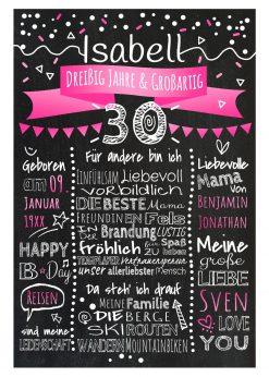 Meilensteintafel Chalkboard 30. Geburtstag Geschenk Personalisiert Geburtstagstafel Frau Mann Pink Klassik.docx