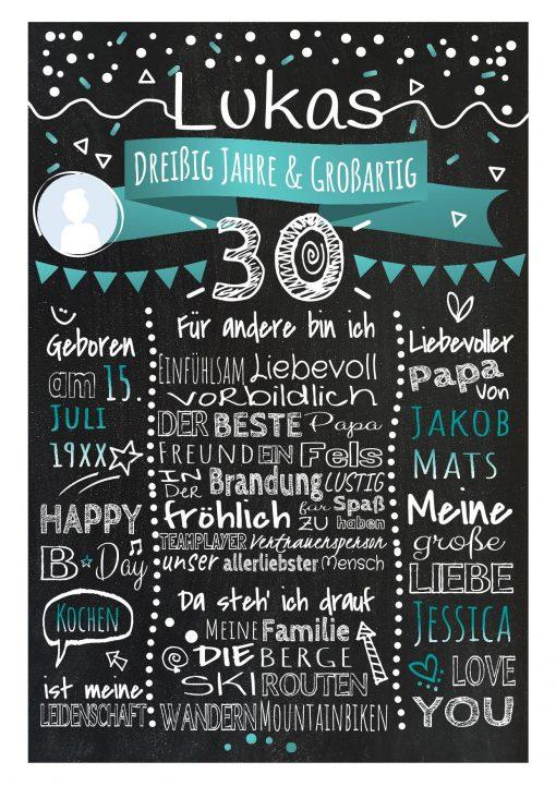 Meilensteintafel Chalkboard 30. Geburtstag Geschenk Personalisiert Geburtstagstafel Frau Mann Türkis Klassik Foto.docx