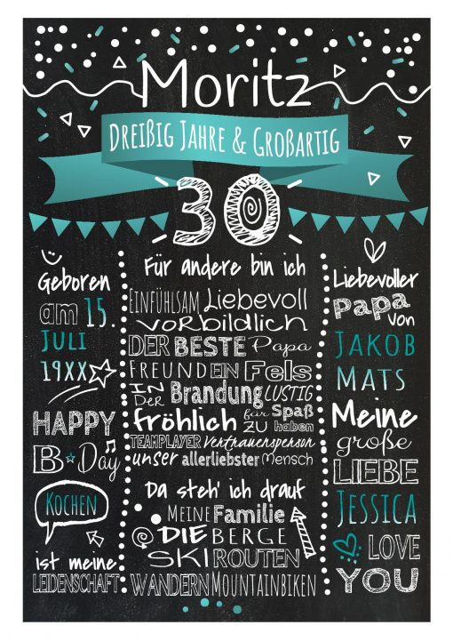 Meilensteintafel Chalkboard 30. Geburtstag Geschenk Personalisiert Geburtstagstafel Frau Mann Türkis Klassik.docx