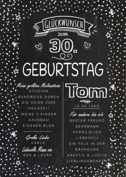 Meilensteintafel Chalkboard 30. Geburtstag Geschenk Personalisiert Geburtstagstafelmann Frau Chalkline