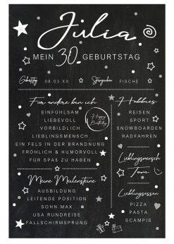 Meilensteintafel Chalkboard 30. Geburtstag Geschenk Personalisiert Mann Frau Chalk Eleganz Simpel Kopie