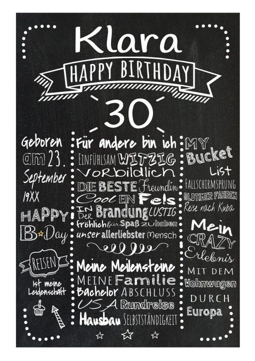 Meilensteintafel Chalkboard 30. Geburtstag Geschenk Personalisiert Mann Frau Geburtstagstafel Retro Dots