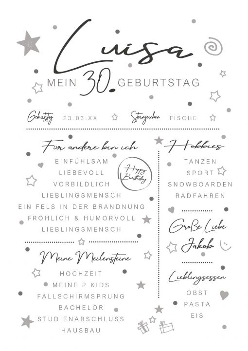 Meilensteintafel Chalkboard 30. Geburtstag Geschenk Personalisiert Mann Frau White Eleganz Simpel