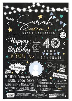 Meilensteintafel Chalkboard 40. Geburtstag Geschenk Personalisiert Chalk O Classic Geburtstagstafel Frau