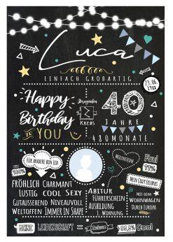 Meilensteintafel Chalkboard 40. Geburtstag Geschenk Personalisiert Chalk O Classic Geburtstagstafel Mann
