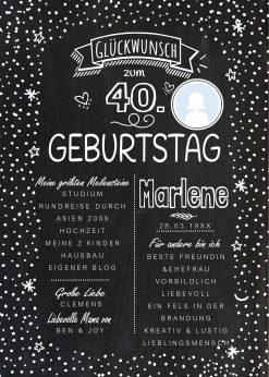 Meilensteintafel Chalkboard 40. Geburtstag Geschenk Personalisiert Geburtstagstafel Frau Mann Chalkline Foto