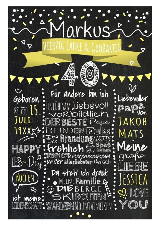 Meilensteintafel Chalkboard 40. Geburtstag Geschenk Personalisiert Geburtstagstafel Frau Mann Gelb Klassik