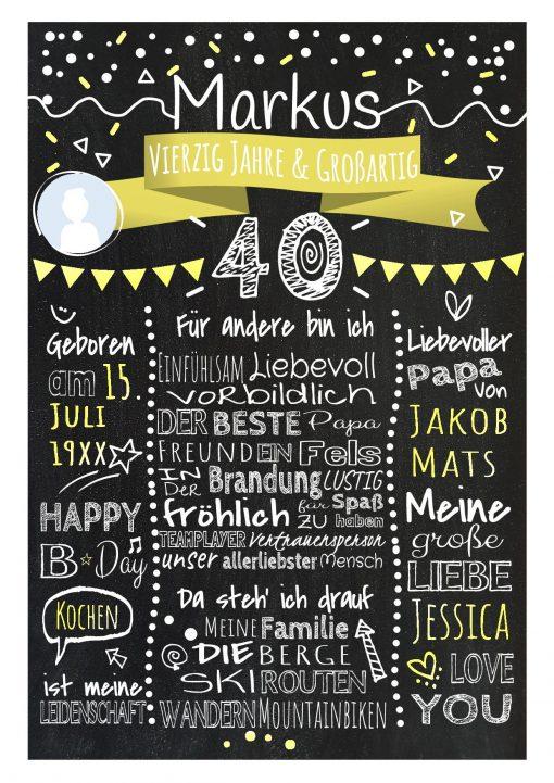 Meilensteintafel Chalkboard 40. Geburtstag Geschenk Personalisiert Geburtstagstafel Frau Mann Gelb Klassik Foto