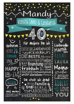 Meilensteintafel Chalkboard 40. Geburtstag Geschenk Personalisiert Geburtstagstafel Frau Mann Gold Türkis Klassik