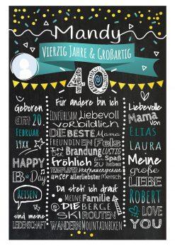 Meilensteintafel Chalkboard 40. Geburtstag Geschenk Personalisiert Geburtstagstafel Frau Mann Gold Türkis Klassik Foto