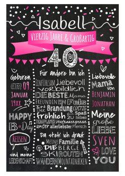 Meilensteintafel Chalkboard 40. Geburtstag Geschenk Personalisiert Geburtstagstafel Frau Mann Pink Klassik