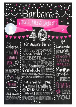 Meilensteintafel Chalkboard 40. Geburtstag Geschenk Personalisiert Geburtstagstafel Frau Mann Pink Klassik Foto
