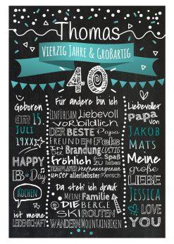 Meilensteintafel Chalkboard 40. Geburtstag Geschenk Personalisiert Geburtstagstafel Frau Mann Türkis Klassik