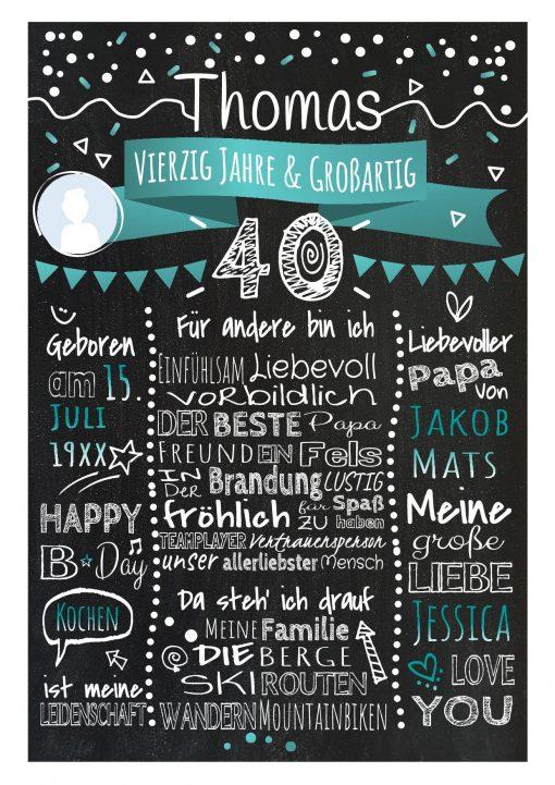 Meilensteintafel Chalkboard 40. Geburtstag Geschenk Personalisiert Geburtstagstafel Frau Mann Türkis Klassik Foto