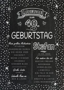 Meilensteintafel Chalkboard 40. Geburtstag Geschenk Personalisiert Geburtstagstafelmann Frau Chalkline